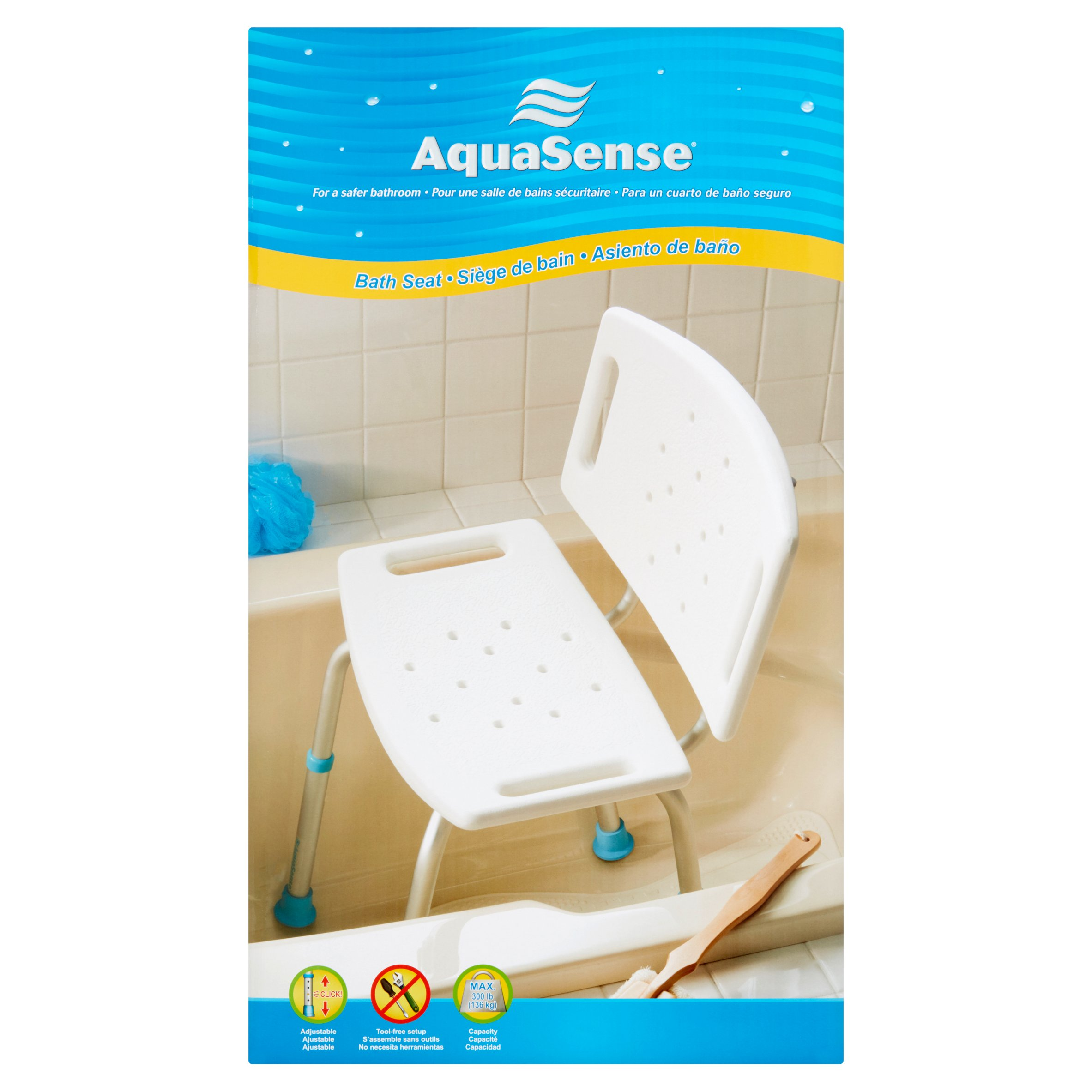 aquasense adjustable bath and shower chair with nonslip seat and backrest white