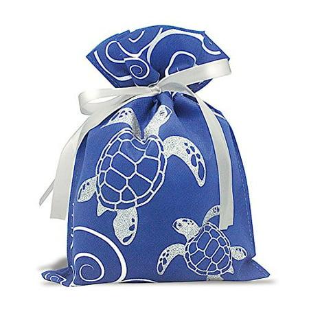 Hawaiian Drawstring Small Gift Bags 3 Pack Honu Turtle Waves