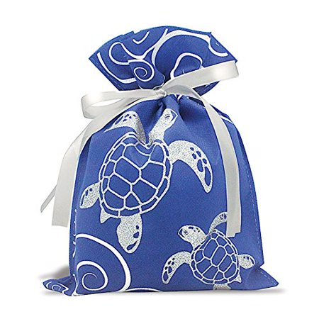 Hawaiian Drawstring Small Gift Bags 3 Pack Honu Turtle Waves