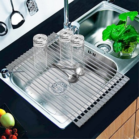 RollUp Dish Drying Rack of Kikoocare, Drain Rack 20.5x13 Over the Kitchen Sink Multipurpose Large Silicone Stainless