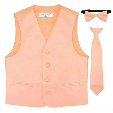 Boys Peach Vest Bow-tie Tie Special Occasion 3 Pcs Set - Peachy Boys