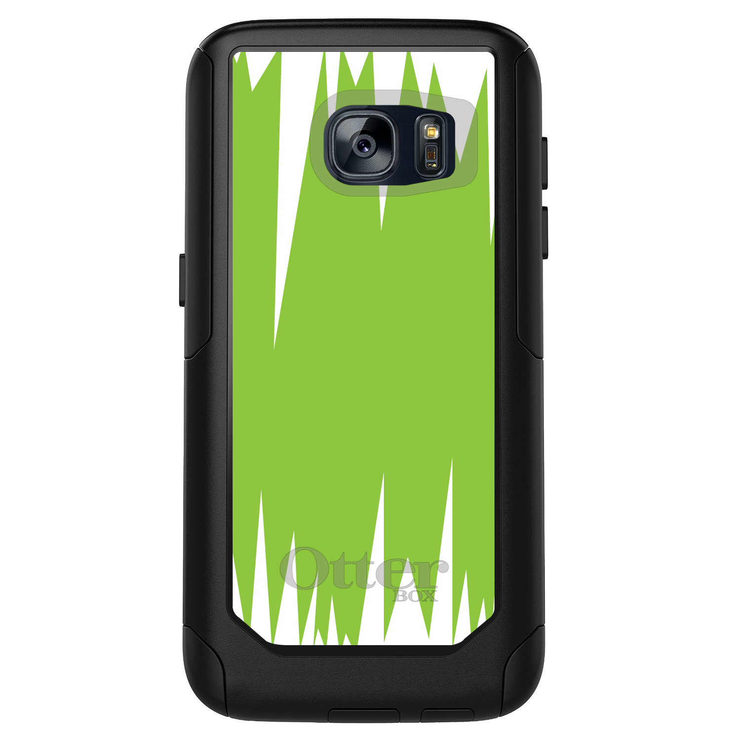 DistinctInk™ Custom Black OtterBox Commuter Series Case for Samsung Galaxy S7 - Lime Green White Spikes