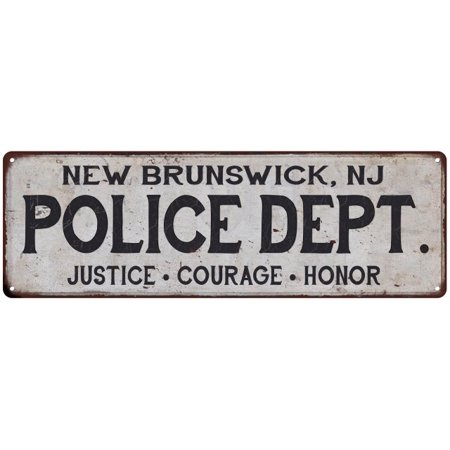NEW BRUNSWICK, NJ POLICE DEPT. Home Decor Metal Sign Gift 8x24 108240012645 ()