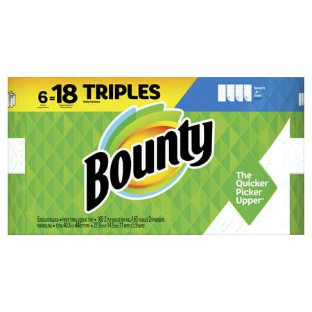 Bounty Select-A-Size Paper Towels, White, 6 Triple Rolls = 18 Regular Rolls