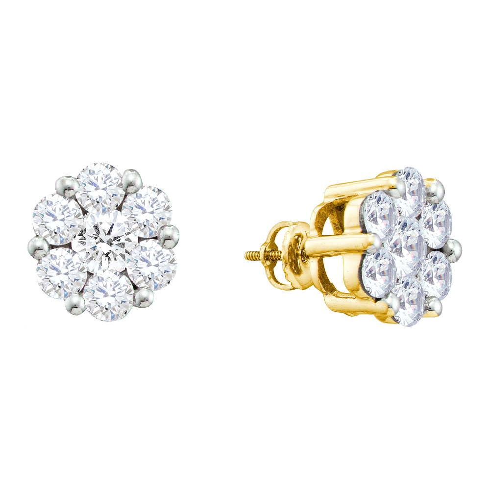 14k Yellow Gold Round Natural Diamond Flower Cluster Womens Large Screwback Stud Earrings (1.50 cttw.)