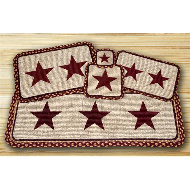 Earth Rugs 86-357BS Wicker Weave Placemat, Burgundy Star