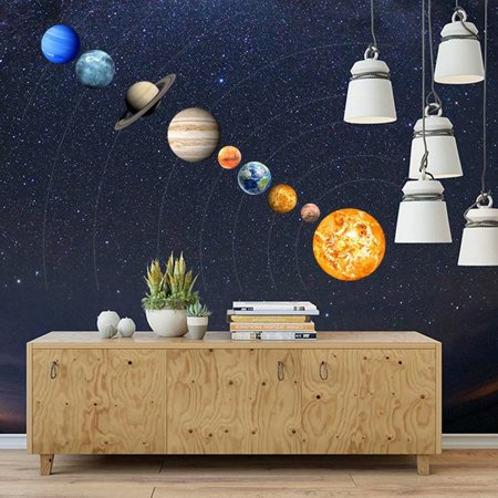 9-Planet Solar System Pattern Luminous Wall Sticker Home Wall Decoration For Kids' Bedroom Living Room - Solar System Decorations