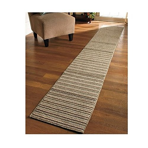 "NEW 20"" X 120"" Sand Colored Striped Extra Long Nonslip Floor Runner Rug *MADE IN USA*"