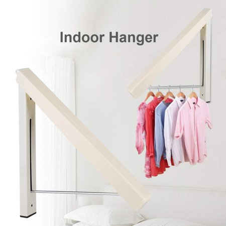 Folding Hidden Wall-mount Hanger Retractable Indoor Bedroom Clothes Towel -