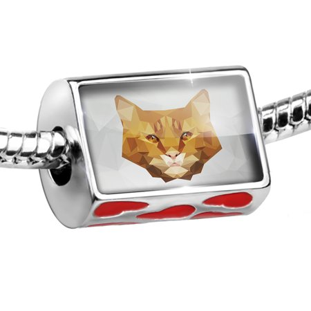 Bead Low Poly zoo Animals Orange Tabby Cat Charm Fits All European Bracelets
