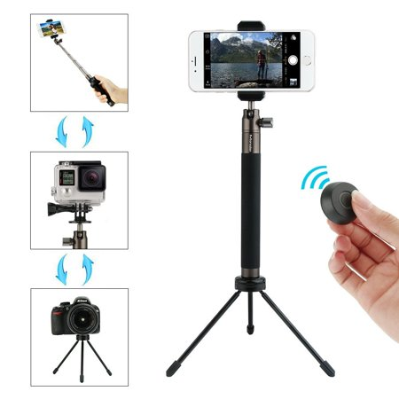 Selfie Stick Tripod Stand with Bluetooth Remote Foldable Extendable Monopod  for Gopro/Camera/iPhone 8/iPhone 8 Plus/iPhone X/iPhone 7/iPhone 7 Plus /