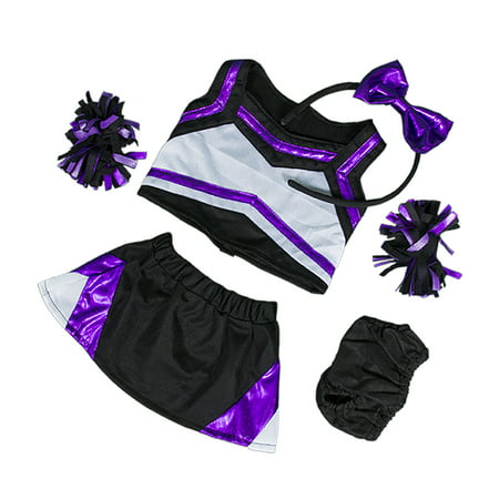 Metallic Purple & Black Cheerleader Teddy Bear Clothes Fits Most 14