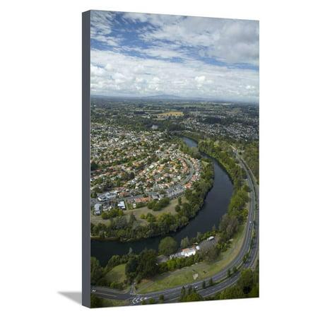 Waikato River and Cobham Drive, Hamilton, Waikato, North Island, New Zealand, Aerial Stretched Canvas Print Wall Art By David