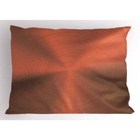 Copper Pillow Sham Realistic Circular Brushed Texture Image Iron Stainless Steel Business Modern Print, Decorative Standard Queen Size Printed Pillowcase, 30 X 20 Inches, Bronze, by Ambesonne