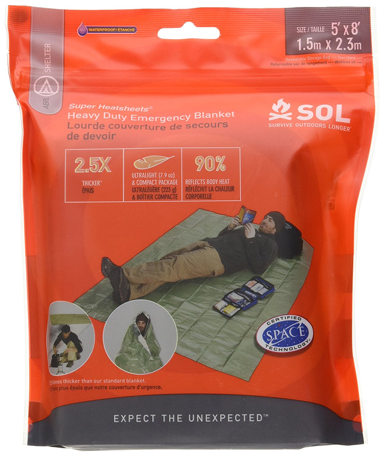 Adventure Medical Kits S. O. L. Heavy Duty Emergency Blanket, SURVIVAL Heavy ESSENTIALS Blackhawk VAS SACK BOB Back BLACK First Hospital... by