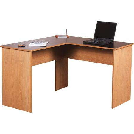 Orion l desk black and oak - Corner table walmart ...