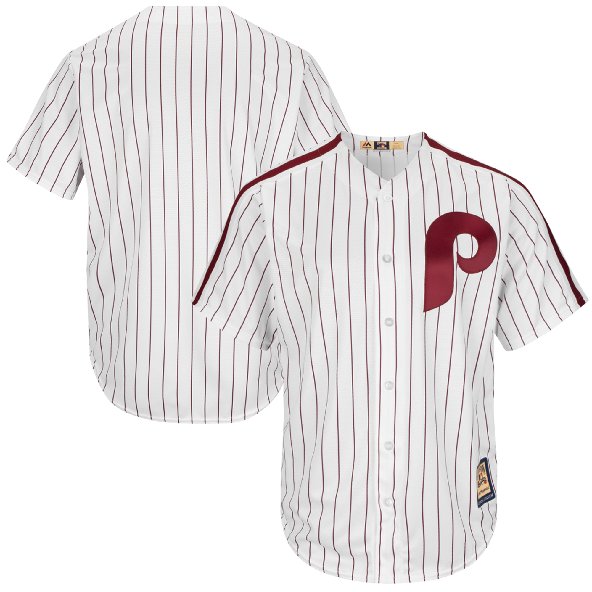 Philadelphia Phillies Majestic Cooperstown Cool Base Team Jersey - White/Red