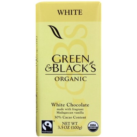 Green & Black's Organic White Chocolate Bar, 3.5 oz bars, 30% Cacao, 10 bars (Pack of 3)