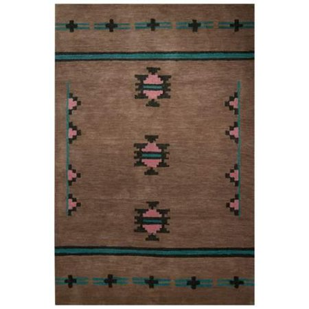 Contemporary Tribal Pattern Tan Blue Wool Area Rug 2x3