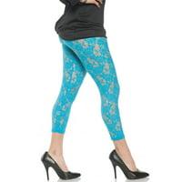Lace Neon Blue Womens Adult 80S Diva Rocker Dance Costume Leggings