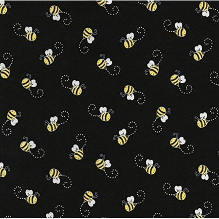 Fabrics Sunflowers and Bees Black Bees, Sold by the Yard By Timeless - Buzzy Bee Fabric