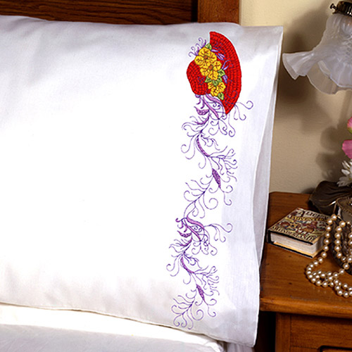 "Tobin Red Hat Stamped Pillowcase Pair For Embroidery, 20"" x 30"""