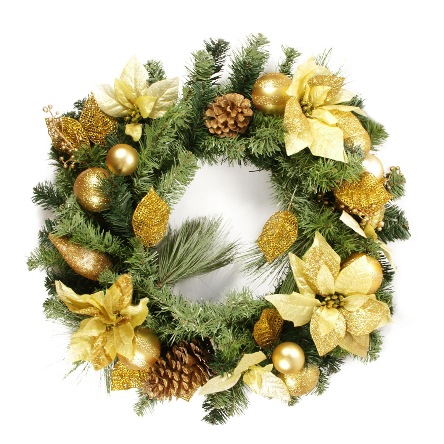 """24"""" Pre-Decorated Pine, Gold Poinsettia and Ornament Adorned Artificial Christmas Wreath - Unlit"""