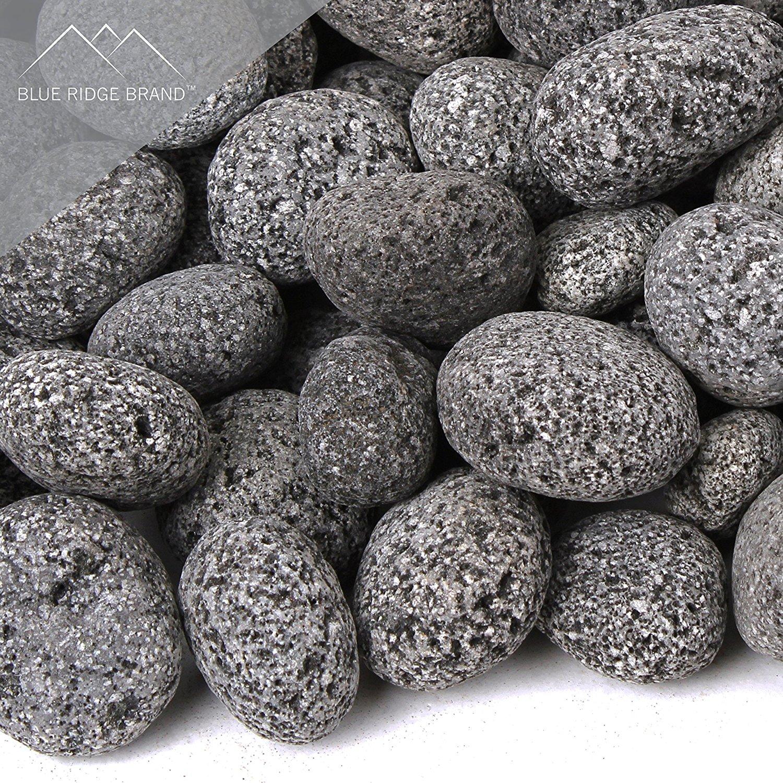 Blue Ridge Brand Lava Rock - Tumbled Lava Stones for Fire Pit - Black/Gray Volcanic Pebbles - Fire Glass Substitute - Landscaping Rocks