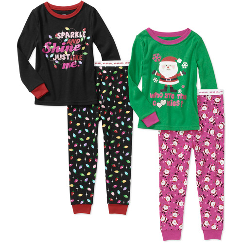 Faded Glory Baby Girls' 4-Piece Holiday Pajama Set