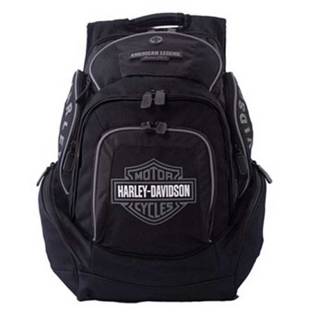 Harley-Davidson Mens Deluxe Backpack BP1900S-GRYBLK, Harley Davidson