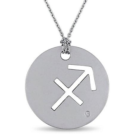 Diamond-Accent Sterling Silver Sagittarius Zodiac Sign Charm Pendant,
