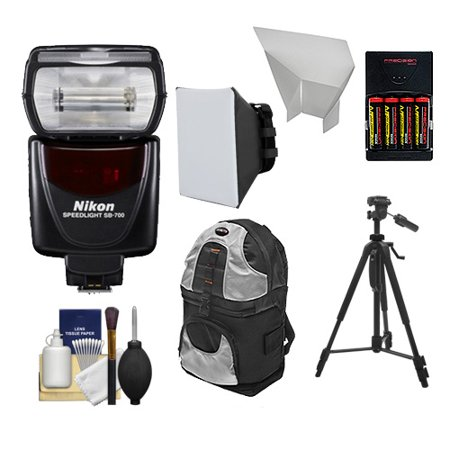 Nikon Sb 700 Af Speedlight Flash With Tripod   Softbox   Bounce Reflector   Batteries   Charger   Backpack   Cleaning Kit