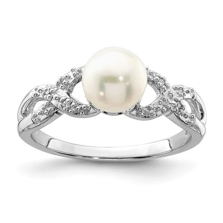 925 Sterling Silver Diamond and Pearl Ring 8 Size (0.01ct )](Silver Diamond)