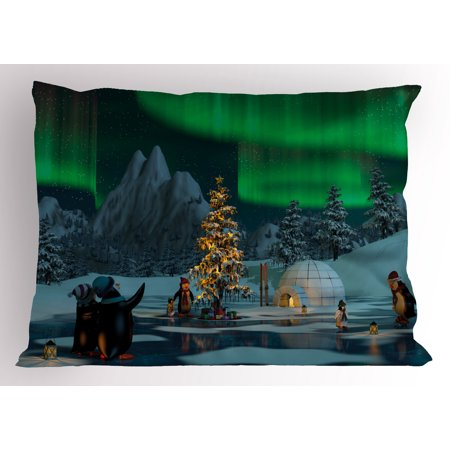 Aurora Borealis Pillow Sham Penguins on Frozen Lake with Christmas Tree Noel Arctic Circle Design, Decorative Standard Queen Size Printed Pillowcase, 30 X 20 Inches, Lime Green Grey, by Ambesonne