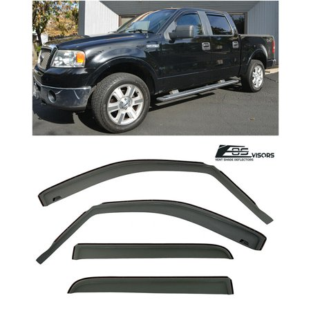 EOS Visors In-Channel Style Side Rain Guard Window Visors Deflectors Vents For 2004-2008 Ford F-150 Crew Cab Models 2004 2005 2006 2007 2008 04 05 06 07 08 F150