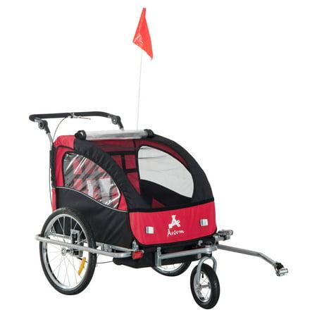 Aosom Elite II 3-in-1 Double Child Bike Trailer/Stroller/Jogger, (Double Face Trailer)