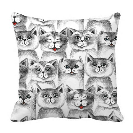 PHFZK Cute Cats Seamless Pattern Pillow Case Sets Pillowcase Throw Pillow Cushion Cover Two Sides Size 18x18 inches