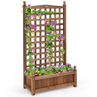 Costway Solid Wood Planter Box with Trellis Weather-Resistant Outdoor 25''x11''x48''