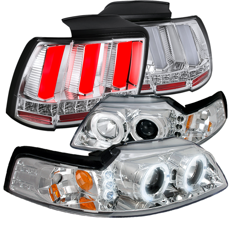 spec d tuning 1999 2004 ford mustang clear projector headlights sequential led tube tail lights clear left right 1999 2000 2001 2002 2003 2004 walmart com walmart com walmart
