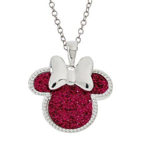 Minnie Mouse Silver Plated Glitter Pendant Necklace, 18 Disney Couture Set Necklace
