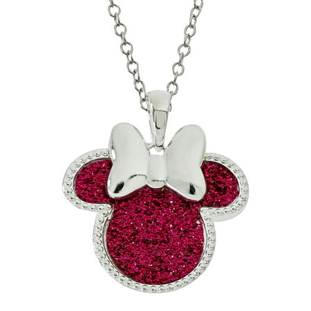 - Disney Minnie Mouse Silver Plated Glitter Pendant Necklace, 18
