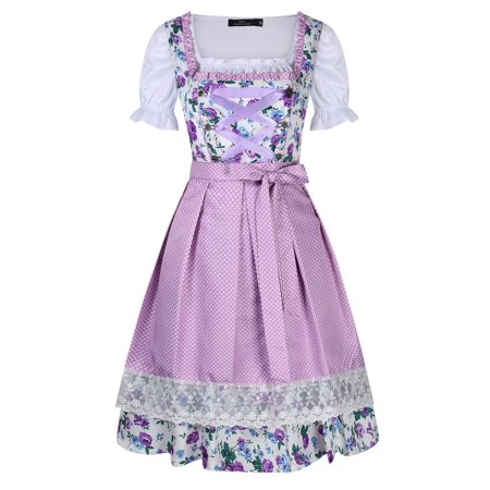 Oktober Fest Dress (Women's Dirndl Dress Three Pieces Suit for Bavarian Oktoberfest)