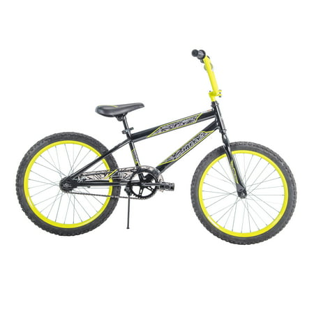 "Huffy 20"" Rock It Boys' Bike, Metallic Black with Neon Yellow Accents"