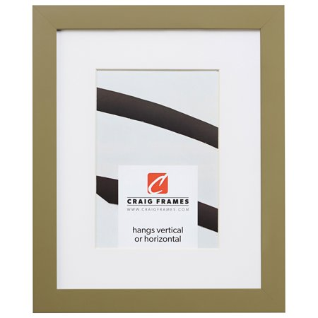 Craig Frames Confetti, 12 x 12 Inch Modern Olive Green Picture Frame Matted to Display a 9 x 9 Inch (Light Olive Matt)