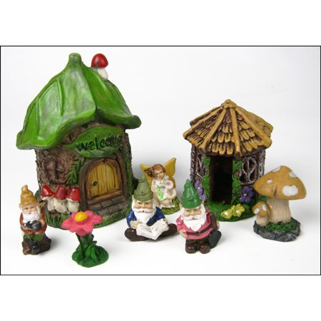 (3Dstereo Miniature Fairy Garden 8 piece Starter Set - leaf house - gazebo - fairy - gnomes -