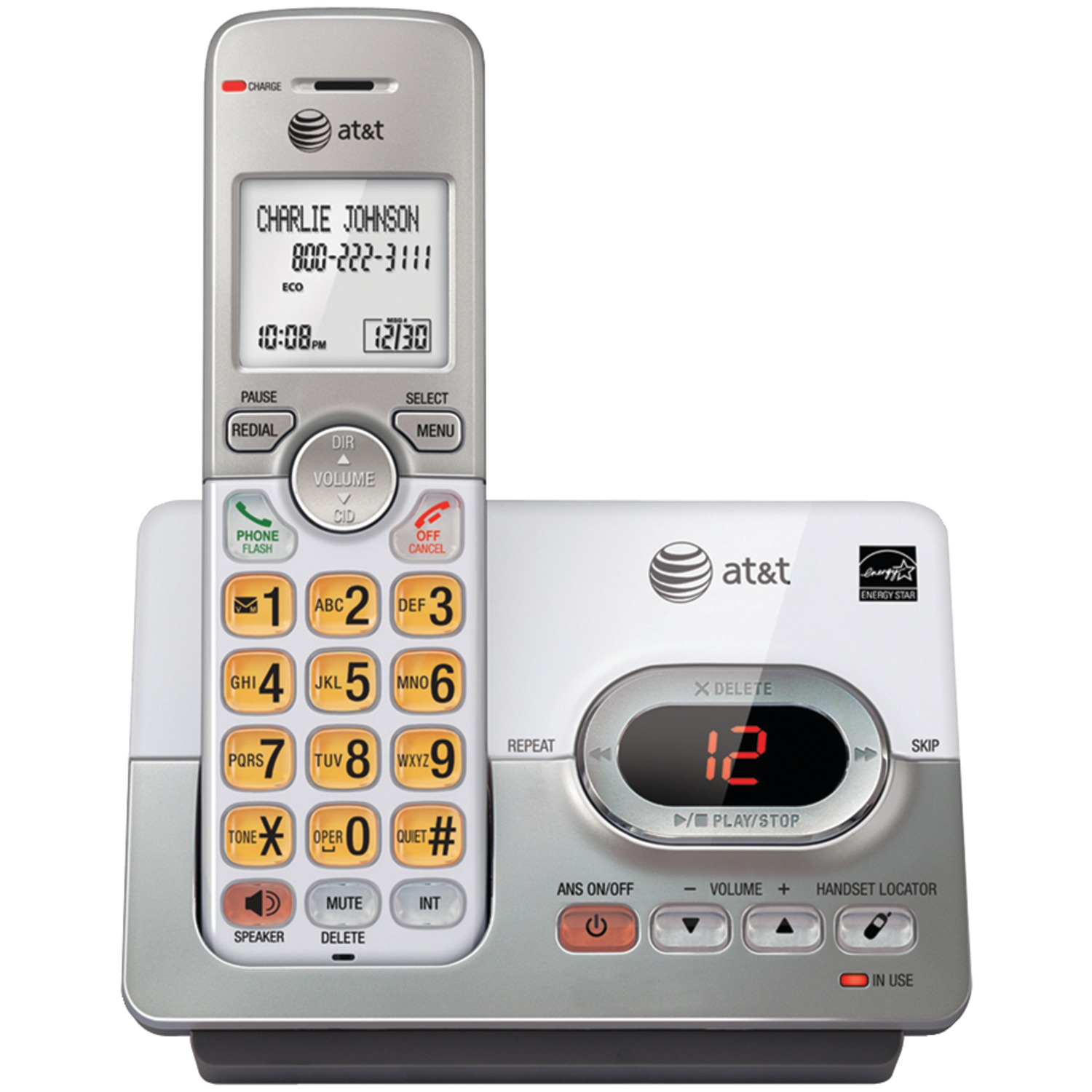 AT&T ATTEL52103 Dect 6.0 Cordless Answering System With Caller ID & Call Waiting