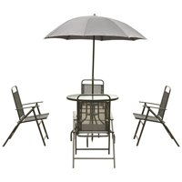 6 pcs Outdoor Patio Folding Round Table and Chair