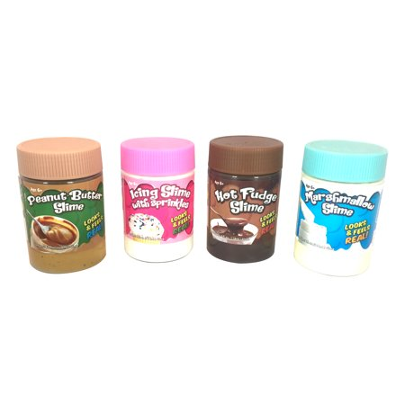 4-Pack of Food Slime: Peanut Butter, Icing with Sprinkles, Hot Fudge, and  Marshmallow, 4oz each