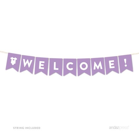 Welcome Lavender Girl Baby Shower Hanging Pennant Garland Party Banner