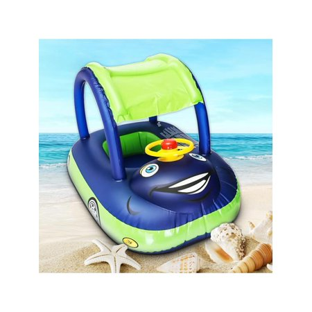 Inflatable Wheel & Sunshade Swimming Pool Baby Kids Float Seat Boat Car Swim Ring Steering Toys Outdoor Play (Random Blue Color) ()